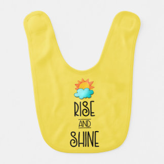 Rise and Shine Typography With Sun and Cloud Bib