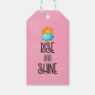Rise and Shine Typography With Sun and Cloud Gift Tags