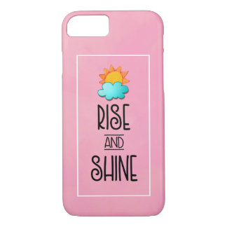 Rise and Shine Typography With Sun and Cloud iPhone 8/7 Case