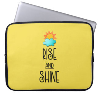 Rise and Shine Typography With Sun and Cloud Laptop Sleeve