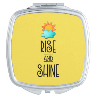 Rise and Shine Typography With Sun and Cloud Mirrors For Makeup