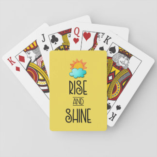 Rise and Shine Typography With Sun and Cloud Playing Cards