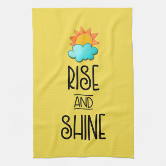 Rise and Shine Typography With Sun and Cloud Tea Towel