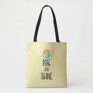 Rise and Shine Typography With Sun and Cloud Tote Bag