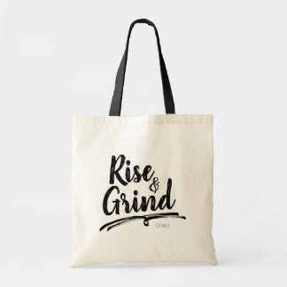 RISE & GRIND Personalized Custom Name Tote Bag