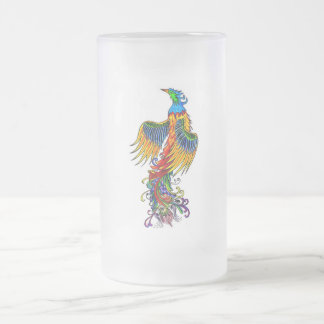 Rise of the Phoenix Frosted Glass Beer Mug