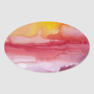 Rise - Red Abstract Ombre Watercolor Sunsrise Oval Sticker