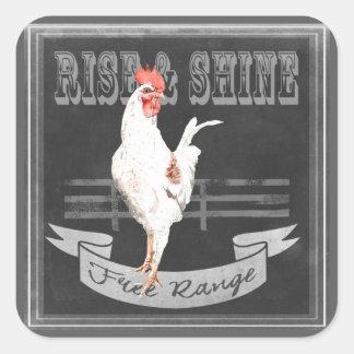 Rise & Shine Rooster Square Sticker