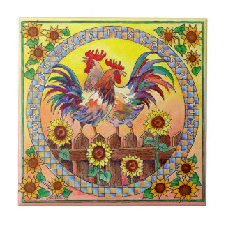 RISE & SHINE ROOSTERS by SHARON SHARPE Ceramic Tile