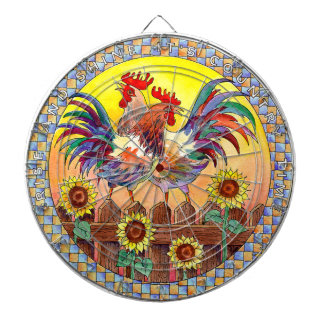 RISE & SHINE ROOSTERS by SHARON SHARPE Dart Board