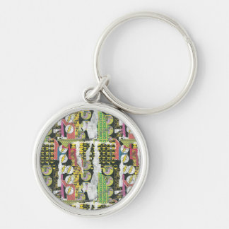 Rise Up Collage Pattern Silver-Colored Round Key Ring