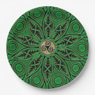 rish Green Celtic Triskele Mandala Paper Plate