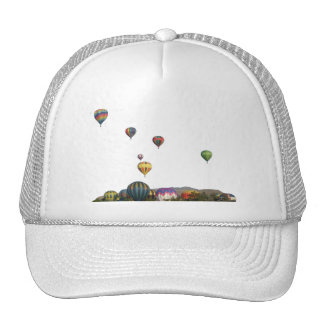 Rising Balloons Above Trees & Mountains Trucker Hat