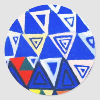 Rising Blue Triangles (geometric expressionism) Round Sticker