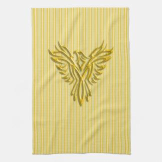 Rising golden phoenix with golden bands tea towel
