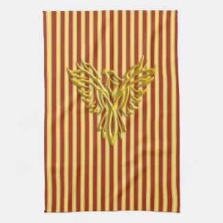 Rising golden phoenix with golden scarlet bands tea towel