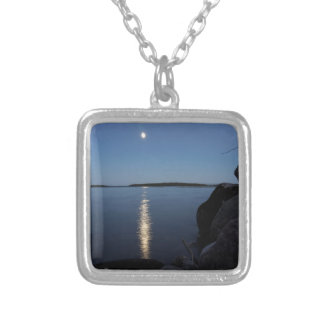Rising Moon Over Whiskey Bay, St Joseph Island Silver Plated Necklace