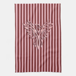 Rising pink phoenix with pink and maroon bands tea towel