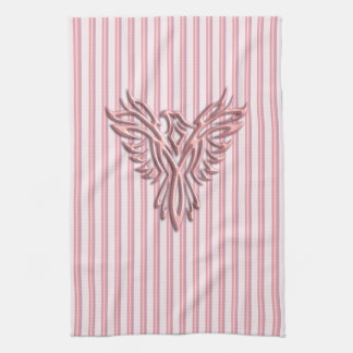 Rising pink phoenix with pink bands tea towel