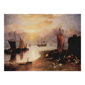 Rising sun in the haze, while selling fish Turner Print