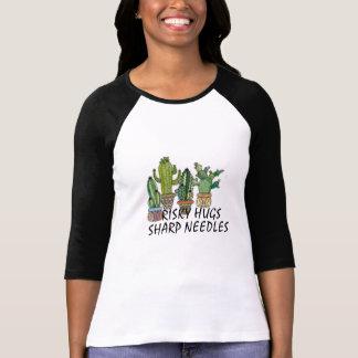 risky hugs sharp needles funny cactus shirt design