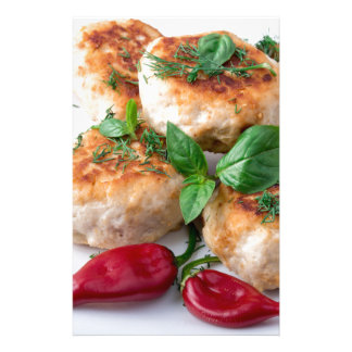 Rissole of minced chicken on a white plate stationery