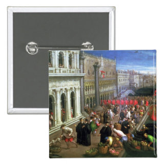 Riva degli Schiavoni, Venice (oil on canvas) (deta 15 Cm Square Badge
