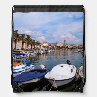 Riva waterfron, Split, Croatia Drawstring Bag
