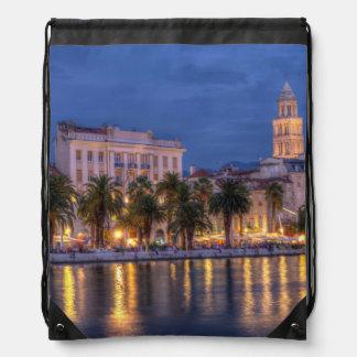 Riva waterfront, Split, Croatia Drawstring Bag