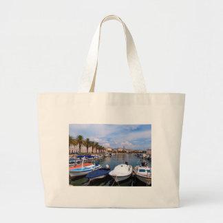 Riva waterfront, Split, Croatia Large Tote Bag