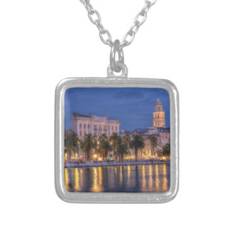 Riva waterfront, Split, Croatia Silver Plated Necklace