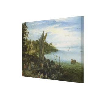 River Bank by  Jan Brueghel the Elder Canvas Print