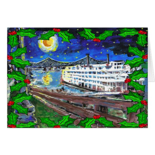 River Boat Christmas Card