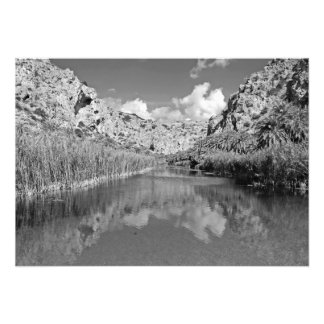 River, clouds, mountains and sky photo print