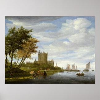 River Estuary with a castle Poster