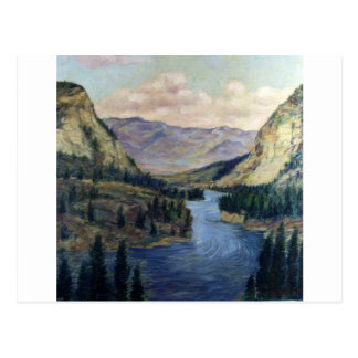 River Flows On Postcard