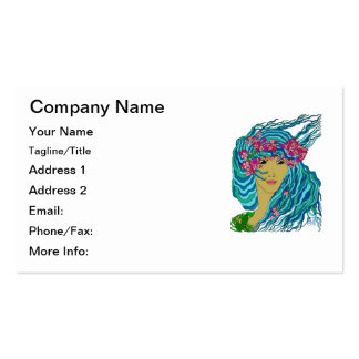 River Goddess with Flowing Watery Hair and Flowers Pack Of Standard Business Cards