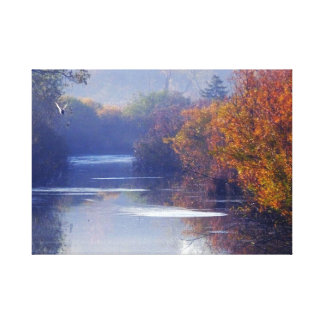 river in fall with duck stretched canvas print