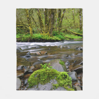 River in green forest, Oregon Fleece Blanket