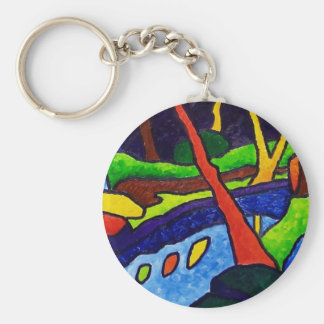 River in the Park Basic Round Button Key Ring