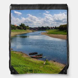 River Kupa in Sisak, Croatia Drawstring Bag