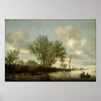 River Landscape, 1645 Poster