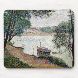 River Landscape with a boat Mouse Pad
