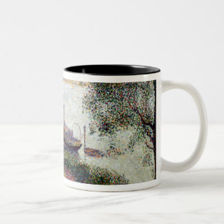 River Landscape with a boat Two-Tone Coffee Mug