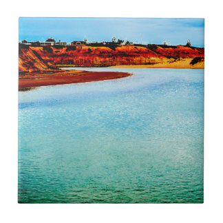 River mouth by the sea small square tile