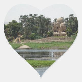 River Nile Scene Heart Sticker