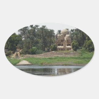 River Nile Scene Oval Sticker