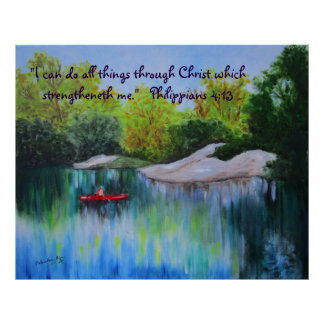 River Oil Painting with Scripture Poster