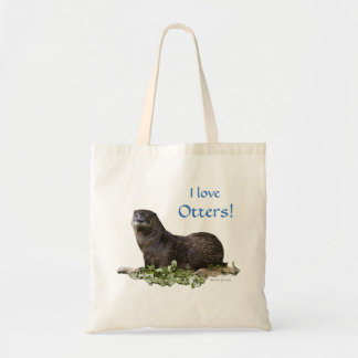 "River Otter ""I Love Otters"" value tote"