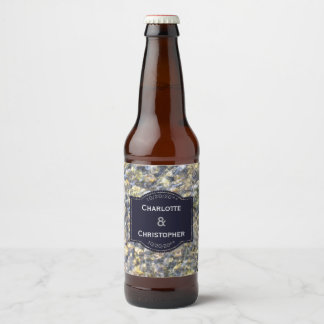River Pebbles And Water Personalized Wedding Beer Bottle Label